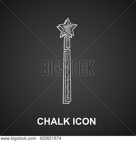 Chalk Magic Wand Icon Isolated On Black Background. Star Shape Magic Accessory. Magical Power. Vecto