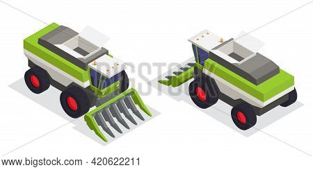 Machinery For Textile And Spinning Industry Isometric Icons Set Of Two Harvesting Machine For Collec