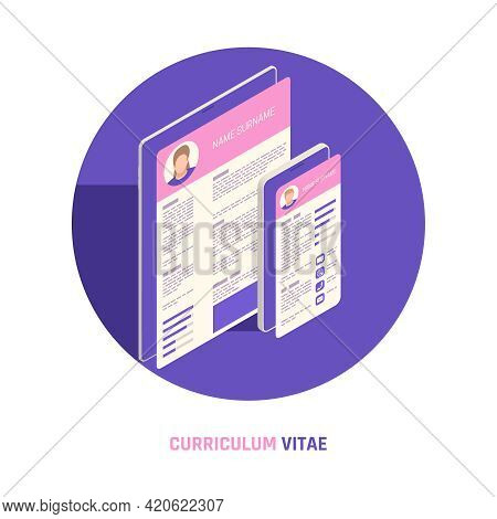 Self Promotion Branding Strategies Circular Composition With Resume Cv Curriculum Vitae On Mobile Ta