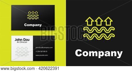 Logotype Line Waves Of Water And Evaporation Icon Isolated On Black Background. Logo Design Template