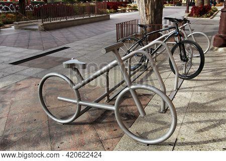 Murcia, Spain- November 16, 2019: Metal Bicycle Parking In The Street In Murcia, Spain