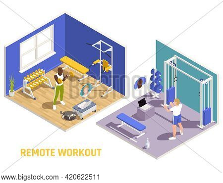 Remote Fitness Workout Virtual Training Coaching Isometric Composition With Men Shaping Up In Home G