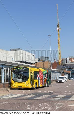 Sheffield, South Yorkshire, England - April 19 2021: A Bus At The Sheffield Interchange. The City`s