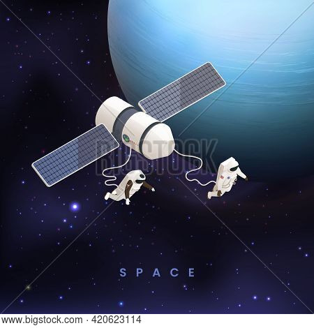 Astronaut Cosmonaut Taikonaut Isometric Colored Concept With Two Astronauts Flying In Space Vector I