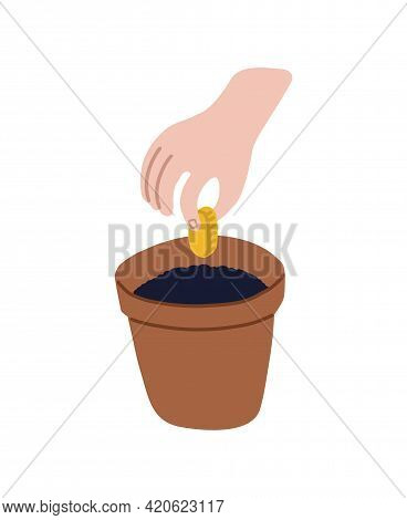 A Childs Hand Plants A Coin In A Pot Of Soil. Childrens Finance And Investment. Financial Literacy.
