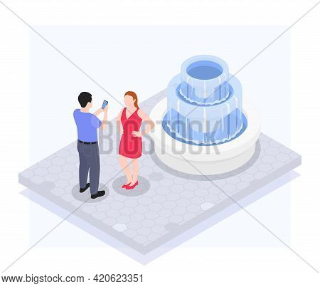 A Man Photographs A Woman In Front Of A Fountain On A Mobile Camera Isometric Vector Illustration