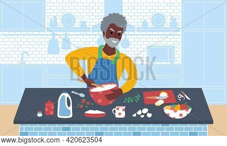 Senior Smiling African Man Preparing A Meal. Flat Style Vector Illustration. Ration.