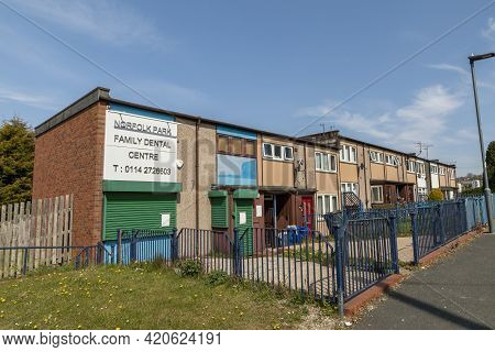 Sheffield, South Yorkshire, England - April 24 2021: Norfolk Park Family Dental Centre In Sheffield