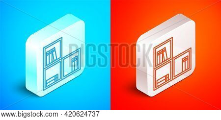 Isometric Line Shelf With Books Icon Isolated On Blue And Red Background. Shelves Sign. Silver Squar