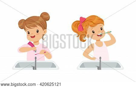 Cute Little Girls Brushing Teeth Set, Daily Routine Concept Cartoon Vector Illustration