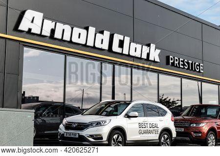 Inverness, Scotland - August 8, 2019: Arnold Clark Prestige Inverness Car Dealership With Suv Cars I