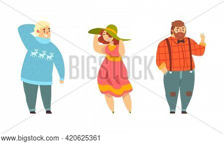 Set Of Cheerful Plus Size People, Plump Male And Female Characters In Fashion Outfit, Body Positive