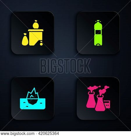 Set Smoke From Factory, Full Dustbin, Iceberg And Bottle Of Water. Black Square Button. Vector