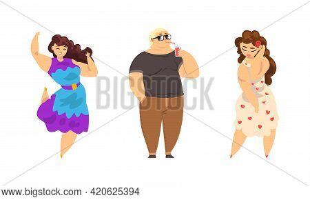 Set Of Cheerful Overweight People, Plump Plus Size Male And Female Characters In Fashion Outfit, Bod