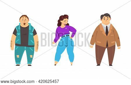 Set Of Plump People, Overweight Male And Female Character, Body Positive Concept Cartoon Vector Illu