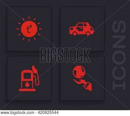 Set Hands Holding Earth Globe, Sun, Car And Petrol Or Gas Station Icon. Vector