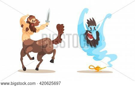 Ancient Mythical Creatures Set, Centaur Warrior With Sword, Gin Coming Out Of Magic Lamp Cartoon Vec