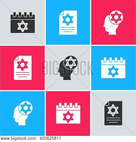 Set Jewish Calendar, Torah Scroll And Orthodox Jewish Hat Icon. Vector