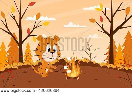 Cute Cartoon Tiger Roasts Marshmallows On A Campfire In The Forest. Autumn Landscape. The Symbol Of