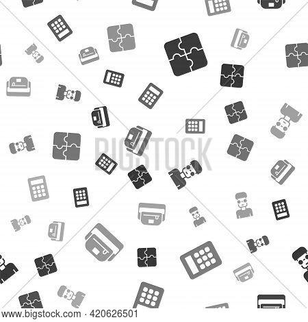 Set Piece Of Puzzle, Calculator, Nerd Geek And Waist Bag Banana On Seamless Pattern. Vector