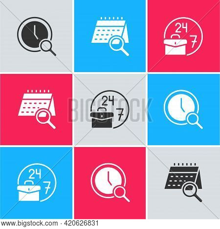 Set Magnifying Glass With Clock, Calendar Search And Always Busy Icon. Vector