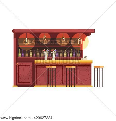 Flat Craft Beer Bar Counter With Three Stools On White Background Vector Illustration
