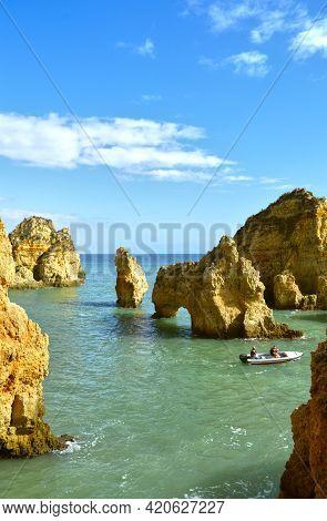 Ponta Da Piedade, Algarve, Portugal - October 28, 2015 : Tourists Enjoying The View Of The Spectacul