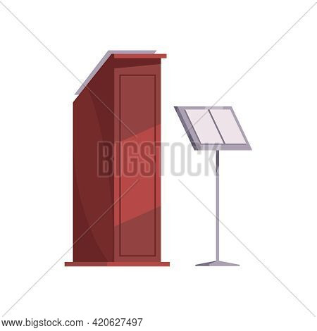 Flat Icon Of Furniture And Music Stand For Conductor Performance Isolated Vector Illustration