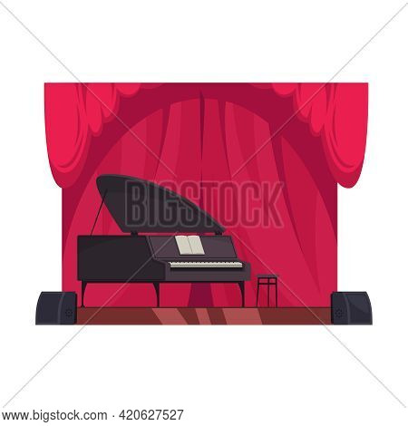 Concert Hall Or Theatre Stage With Piano And Red Curtains Flat Vector Illustration