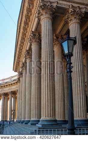 St. Petersburg, Russia - May 09, 2021: Columns Of The Kazan Cathedral Colonnade In Saint Petersburg,