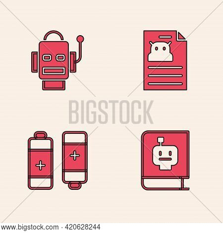 Set User Manual, Robot, Technical Specification And Battery Icon. Vector