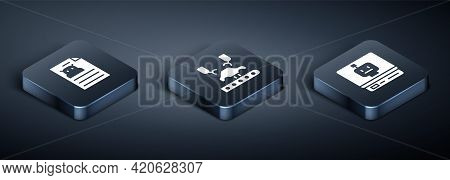 Set Isometric Technical Specification, Robot And Robotic Robot Arm Factory Icon. Vector