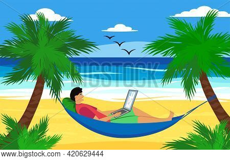 Man Lying On A Hammock With A Laptop With A Tropical Cocktail. Freelancer And Palms, Remote Work Con