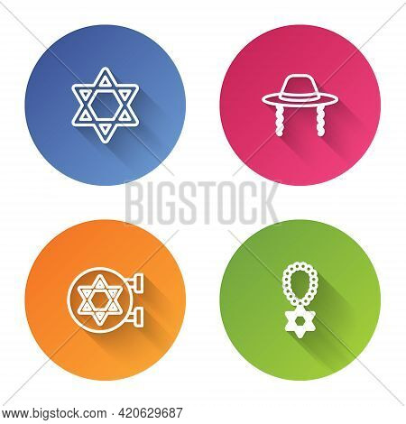 Set Line Star Of David, Orthodox Jewish Hat, Jewish Synagogue And Necklace On Chain. Color Circle Bu