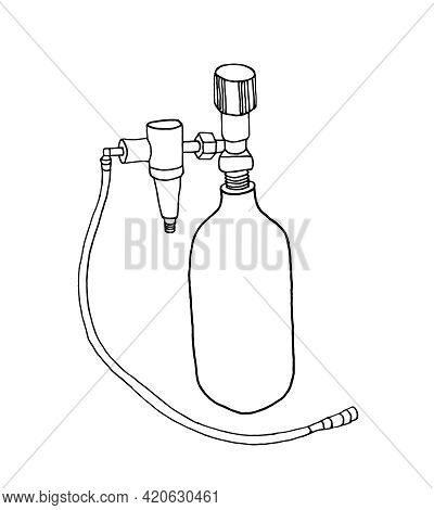 A Medical Cylinder With Oxygen Or Nitrous Oxide And A Hose. Linear Gas Cylinder Icon, Contour Vector