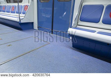 A Subway Car.interior Design. Seats In The Subway.