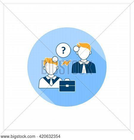 Misunderstanding Flat Icon. Failure To Understand. Misinterpretation. Discussion Between Two Men. Ef