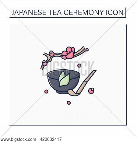 Tea Scoop Color Icon. Unique Ladle For Traditional Herbal Tea In Cup.japanese Ethnic And National Ce