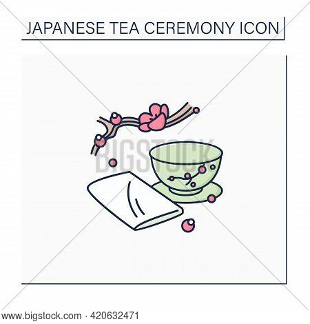 Chakin Color Icon. Special Rectangular Cloth Used To Wipe Teacup. Japanese Ethnic And National Cerem
