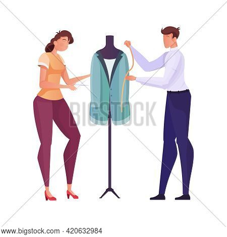 Tailoring Flat Composition With Human Characters Of Male And Female Tailors Working With Mannequin V
