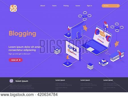 Blogging Isometric Landing Page. Social Content Production, Network Communication, Internet Posting