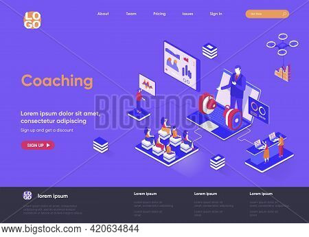 Coaching Isometric Landing Page. Business Consultation And Assistance, Career Growth, Motivation And