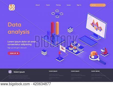 Data Analysis Isometric Landing Page. Financial Data Analysis, Management And Optimization, Database