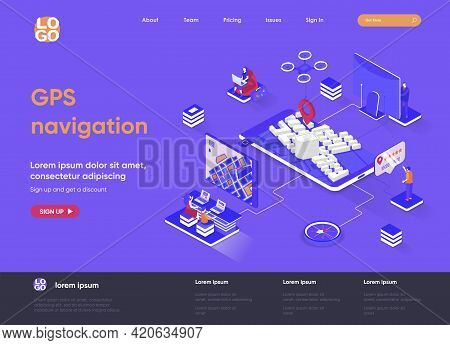 Gps Navigation Isometric Landing Page. Geolocation And Navigation System, World Orientation, Route A