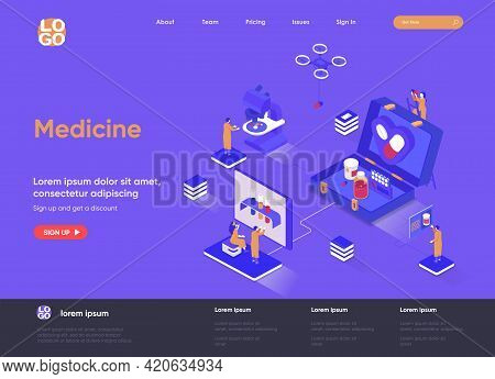 Medicine Isometric Landing Page. Modern Diagnostics And Treatment In Clinic, Laboratory Examination