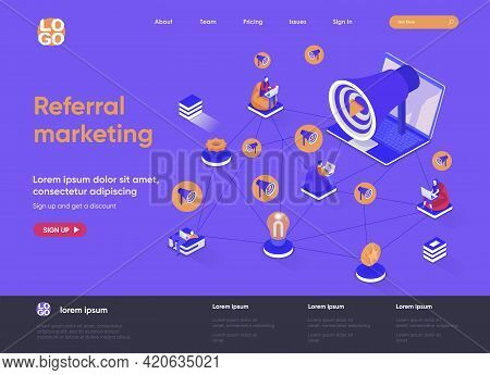 Referral Marketing Isometric Landing Page. Promoting In Social Media, Attraction Of New Customers, R