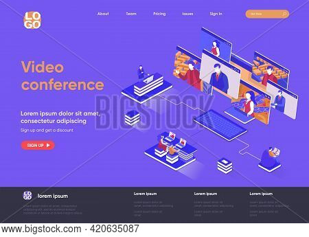 Video Conference Isometric Landing Page. Online Visual Communication Of Team Members, Teleconference