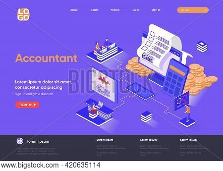 Accountant Isometric Landing Page. Business Accounting And Financial Statements, Payment Balance And