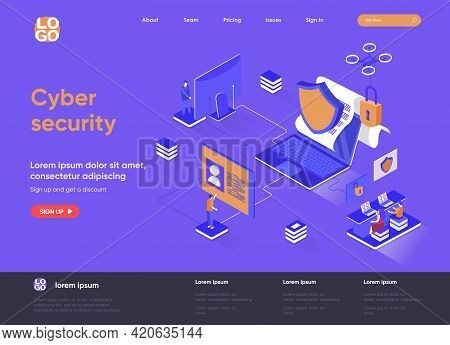 Cyber Security Isometric Landing Page. Internet Privacy, Password Access, Firewall Software And Iden