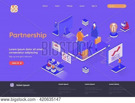 Partnership Isometric Landing Page. Business Collaboration, Partners Agreement, Effective Teamwork A